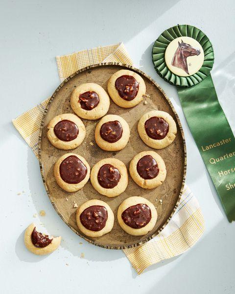 caramel chocolate walnut thumbprint cookie