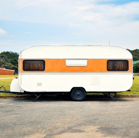 caravan, side view of a camper van on street