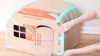 Diy Cardboard Kitty Camper How To Make A Cat House Out Of Cardboard