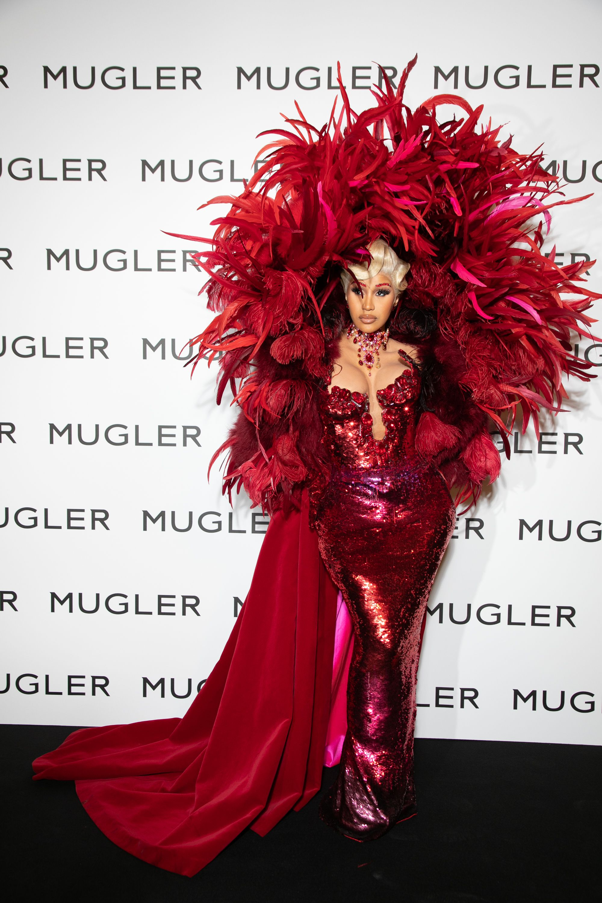 See Cardi B in a Feathered Mugler Look for Paris Fashion Week