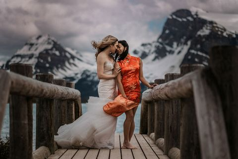 Photograph, Dress, Bride, Photography, Sky, Wedding dress, Gown, Flash photography, Happy, Wedding,