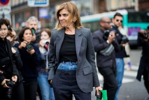 Carine Roitfeld Street Style Margiela Layered Trouser Pants