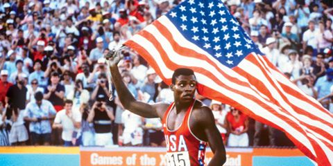Carl Lewis with American Flag
