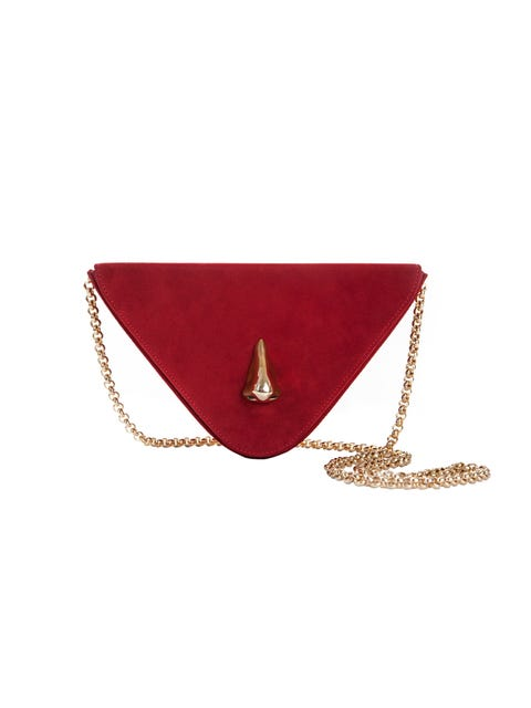 Red, Chain, Fashion accessory, Handbag, Bag, Wallet, Leather, Coin purse, Triangle, Jewellery,
