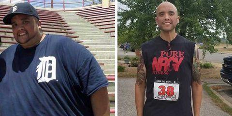 el antes y después de corredor que ha perdido 200 kg