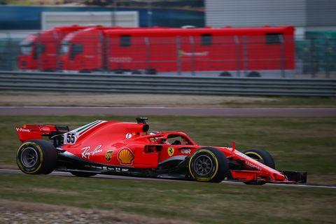 carlos sainz jr scuderia ferrari drive the sf71h during