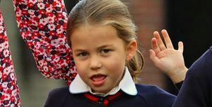 Charlotte de Cambridge en su primer dia de colegio