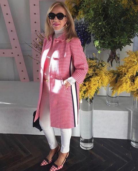 Clothing, Pink, White, Eyewear, Fashion, Street fashion, Dress, Outerwear, Pattern, Polka dot,