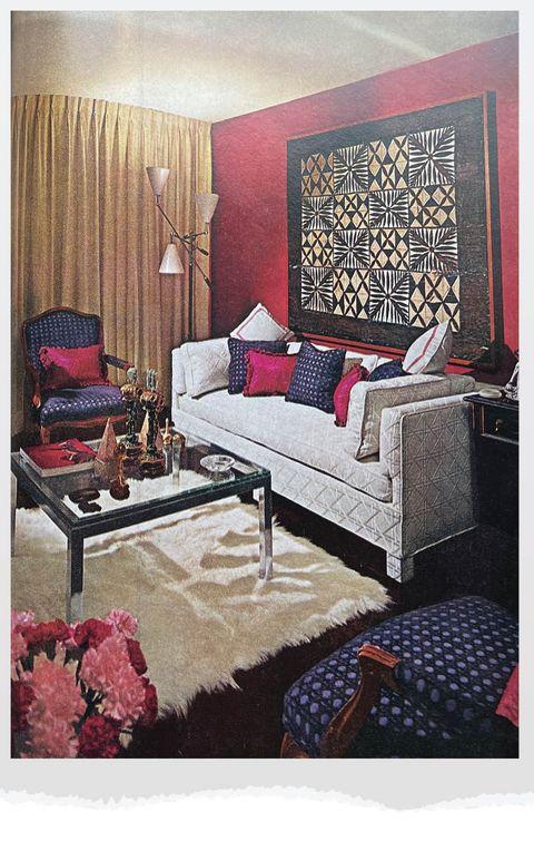moody carnation living room
