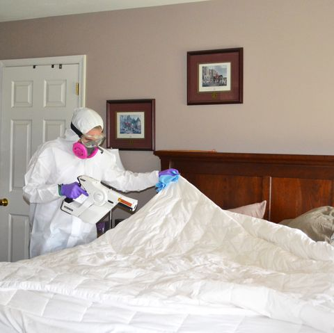 ster clean owner carol schaubhut disinfecting a bed