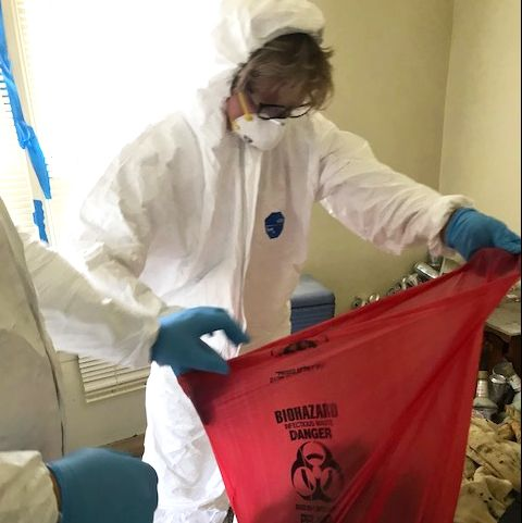 steri clean's carol schaubhut working on a covid 19 infected house