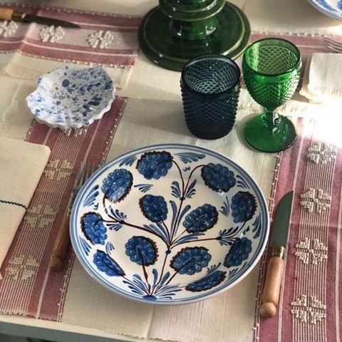 Dishware, earthenware, Ceramic, Tableware, Turquoise, Plate, Dinnerware set, Table, Design, Platter,