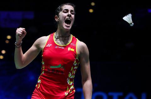 Carolina Marín celebra un punto en el All England Open, el último torneo antes de pasar la cuarentena por el Covid-19.