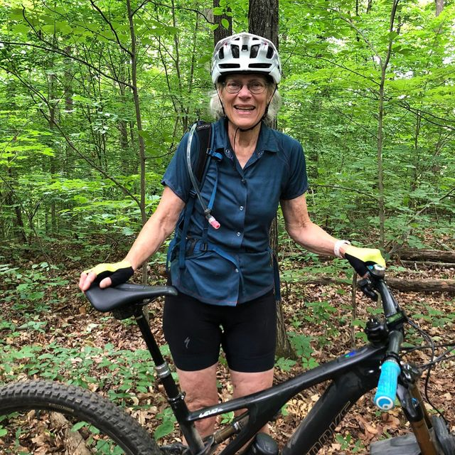 dr caroline cooley with her ebike