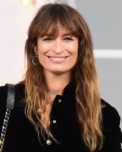 celebrity fringe hairstyles, fringe inspiration, paris, france   october 06 caroline de maigret attends the chanel womenswear springsummer 2021 show as part of paris fashion week on october 06, 2020 in paris, france photo by stephane cardinale   corbiscorbis via getty images