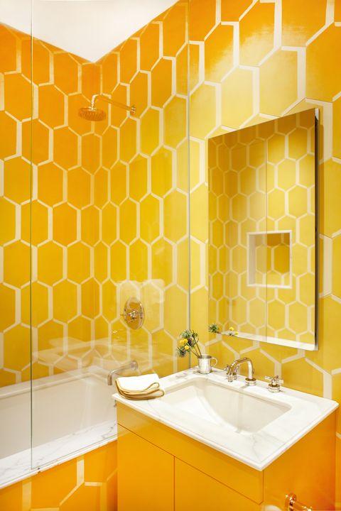 Yellow, Orange, Tile, Room, Wall, Bathroom, Interior design, Material property, Wallpaper, Ceiling,