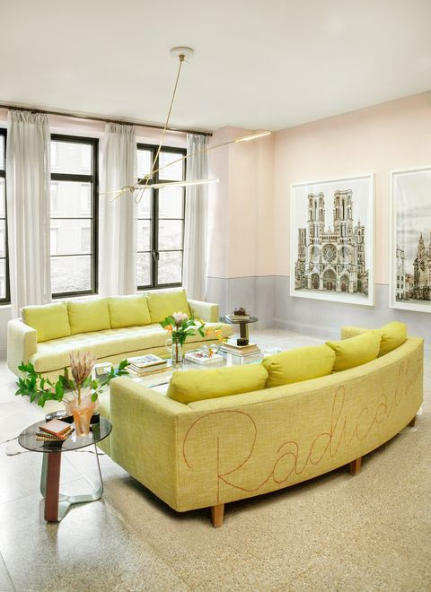 Living room, Furniture, Room, Interior design, Yellow, Property, Couch, Coffee table, Table, Wall,