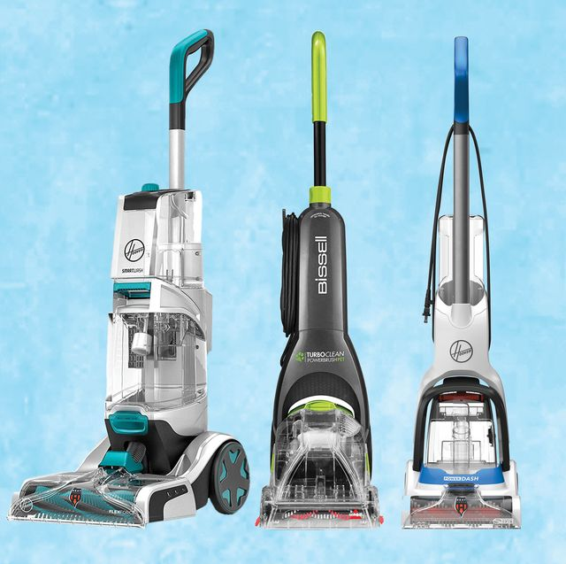 hoover and bissell upright carpet cleaners with light blue background