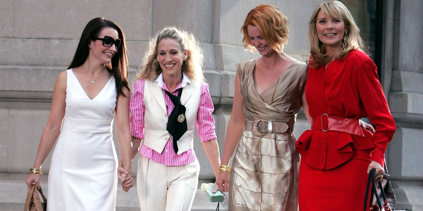 """Kristin Davis, Sarah Jessica Parker, Cynthia Nixon and Kim Cattrall on Location for """"Sex and the City: The Movie"""" - September 21, 2007"""