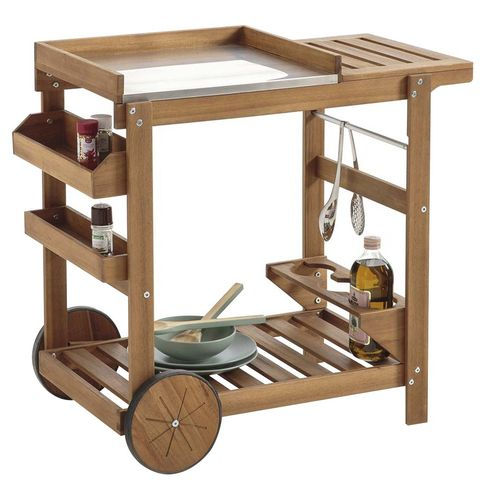 Camarera de madera de acacia con ruedas