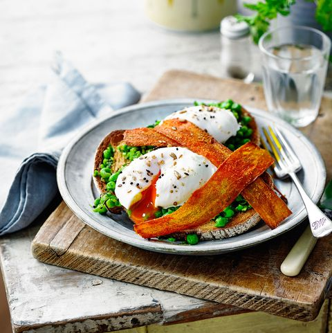 Carrot 'Bacon', Peas and Poached Egg Toast