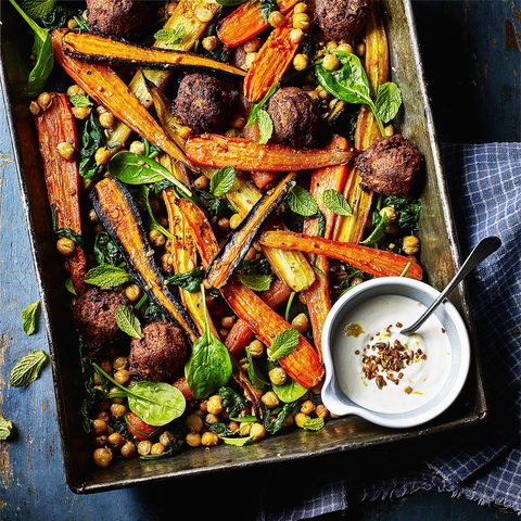 carrot chickpea and falafel bake