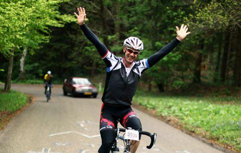 cyclist celebrating