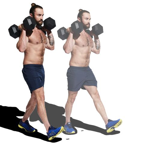 Weights, Exercise equipment, Shoulder, Dumbbell, Arm, Joint, Standing, Sports equipment, Muscle, Chest,
