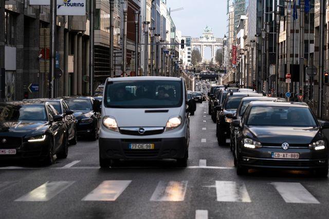 cars blocked in traffic jam