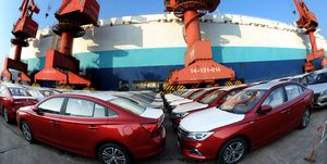 Vehicles At Port Of Lianyunggang