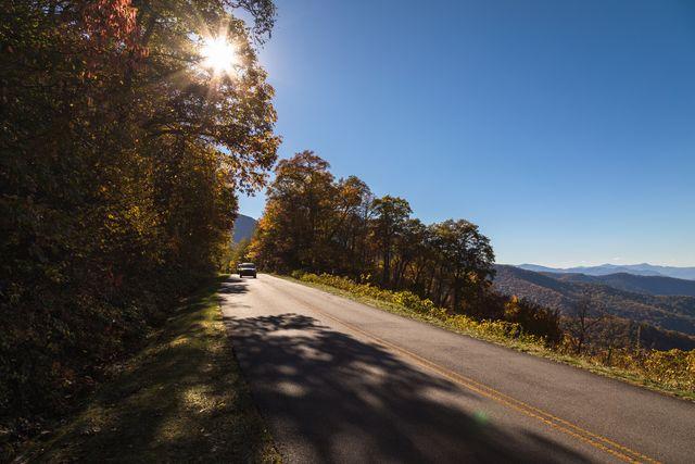 cars driving on blue ridge parkway