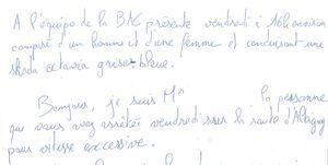 Carta de agradecimiento a la Policía francesa