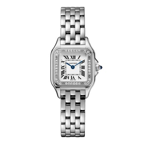 Watch, Analog watch, Watch accessory, Fashion accessory, Jewellery, Rectangle, Brand, Material property, Silver, Steel,