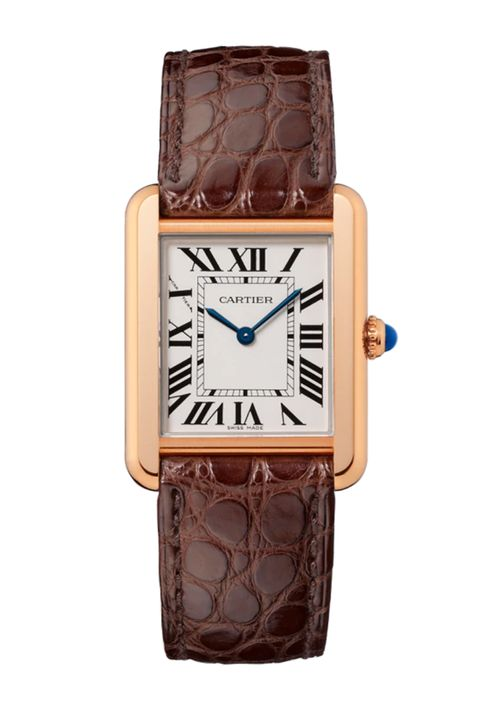 cartier tank solo watch small model, quartz movement, pink gold, steel, leather