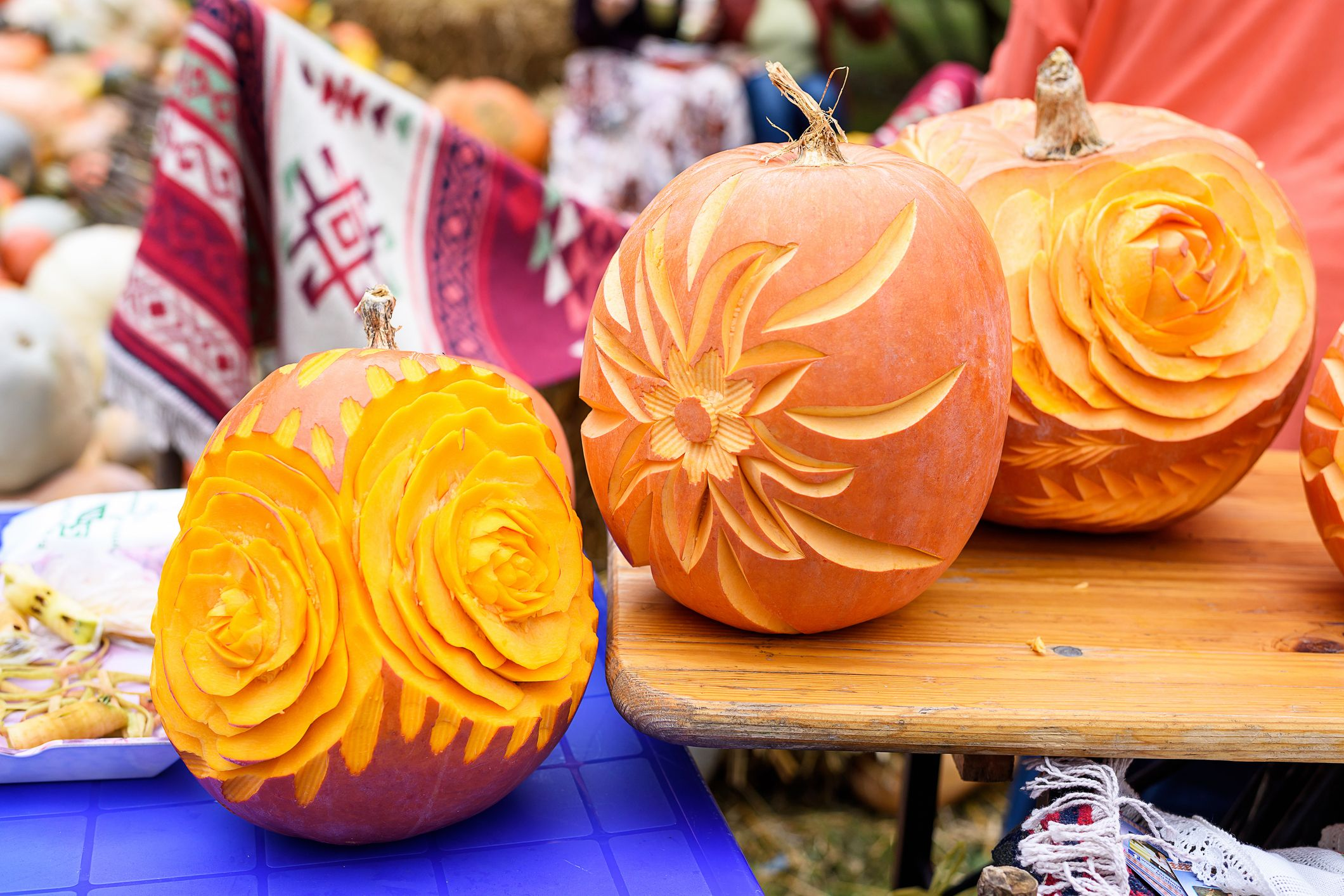 carved flower pumpkins & 60+ Pumpkin Designs We Love for 2018 - Pumpkin Decorating Ideas