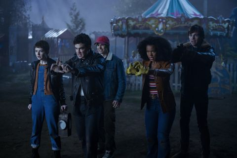 chilling adventures of sabrina l to r  lachlan watson as theo, gavin leatherwood as nick, jonathan whitesell as robin, jaz sinclair as rosalind, and ross lynch as harvey in episode, 209 of chilling adventures of sabrina cr diyah peranetflix © 2020