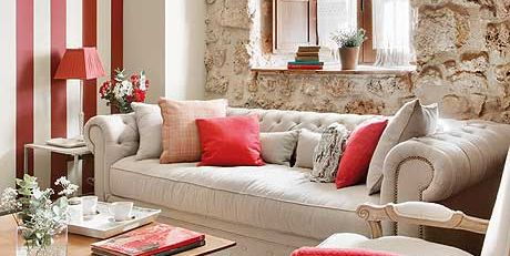 Living room, Room, Furniture, Interior design, Red, Couch, Property, Coffee table, Table, Curtain,