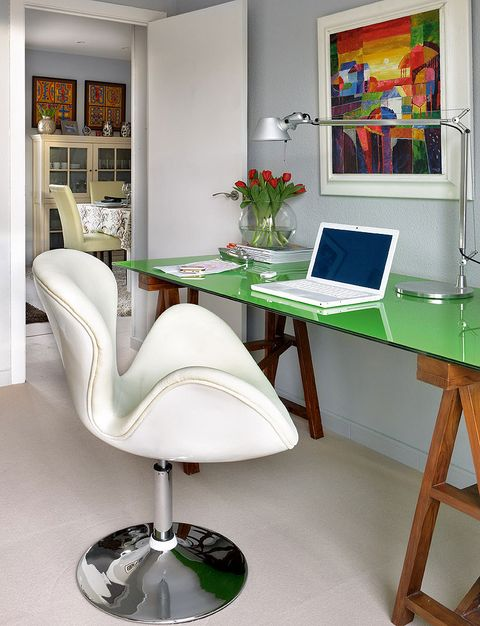 Furniture, Desk, Office chair, Room, Computer desk, Chair, Green, Table, Interior design, Property,
