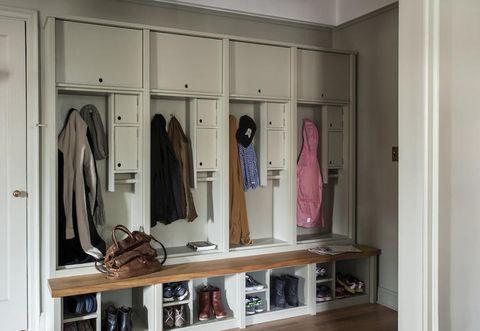 Room, Shelving, Closet, Shelf, Wardrobe, Clothes hanger, Bag, Collection, Boot, Plywood,
