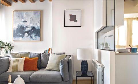 Piso de 50 metros: Salón con sofá gris