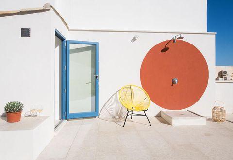 Blue, Orange, Red, Interior design, Room, Wall, Azure, House, Table, Door,