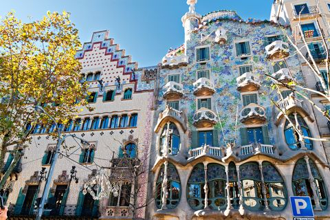 barcelona, spain   november 11 casa batlló and casa ametller facades they are major touristic attractions in barcelona november 11, 2012 in barcelona, spain
