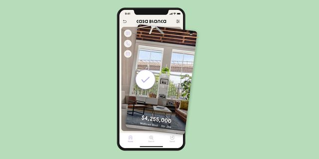 casa blanca real estate app with green background