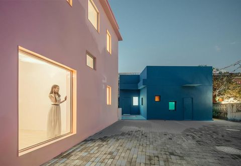 Blue, Property, Architecture, House, Wall, Yellow, Sky, Building, Home, Facade,