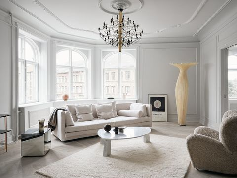 Furniture, Room, Living room, White, Interior design, Property, Ceiling, Chandelier, Floor, Lighting,