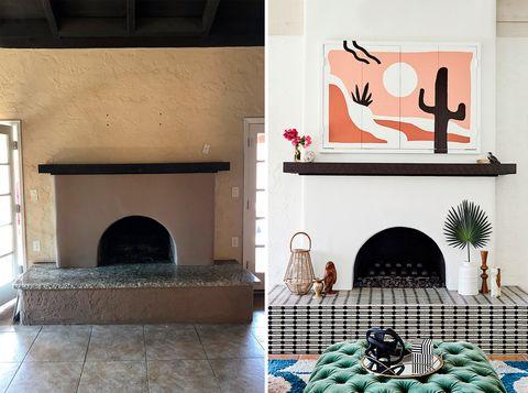 antes y después de un salón con chimenea
