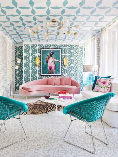 Furniture, Turquoise, Interior design, Room, Blue, Pink, Aqua, Property, Table, House,