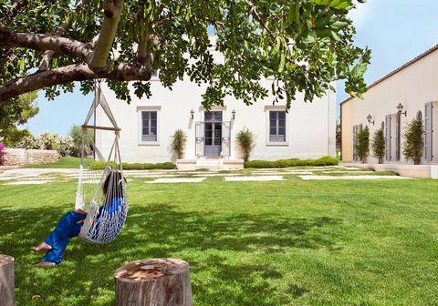 Jardín con columpio en un árbol