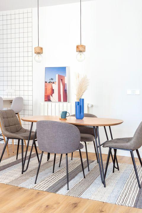 comedor de diseño moderno abierto a la cocina
