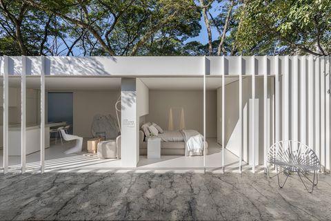 casa modular de diseño sostenible en color blanco